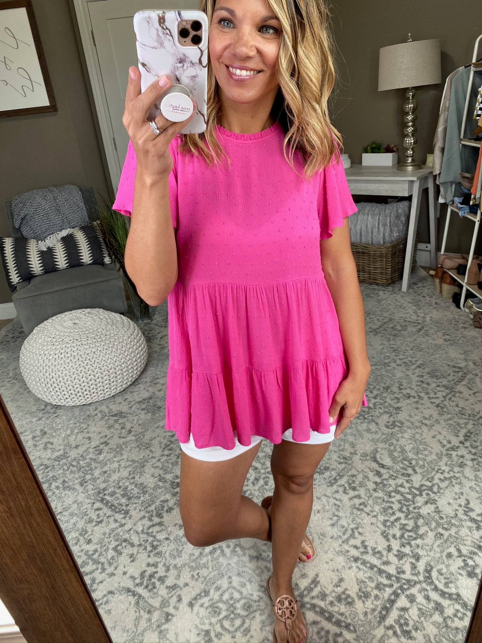 Pretty In Pink Swiss Dot Tiered Babydoll Tee