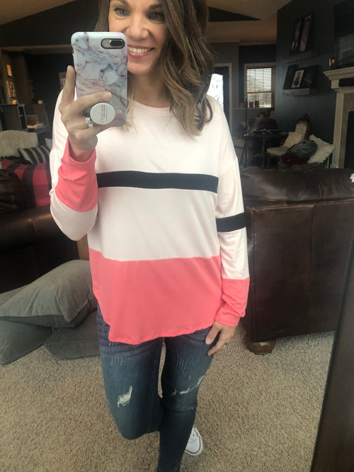 Conversation Hearts Pink with Contrasting Stripes Long Sleeve