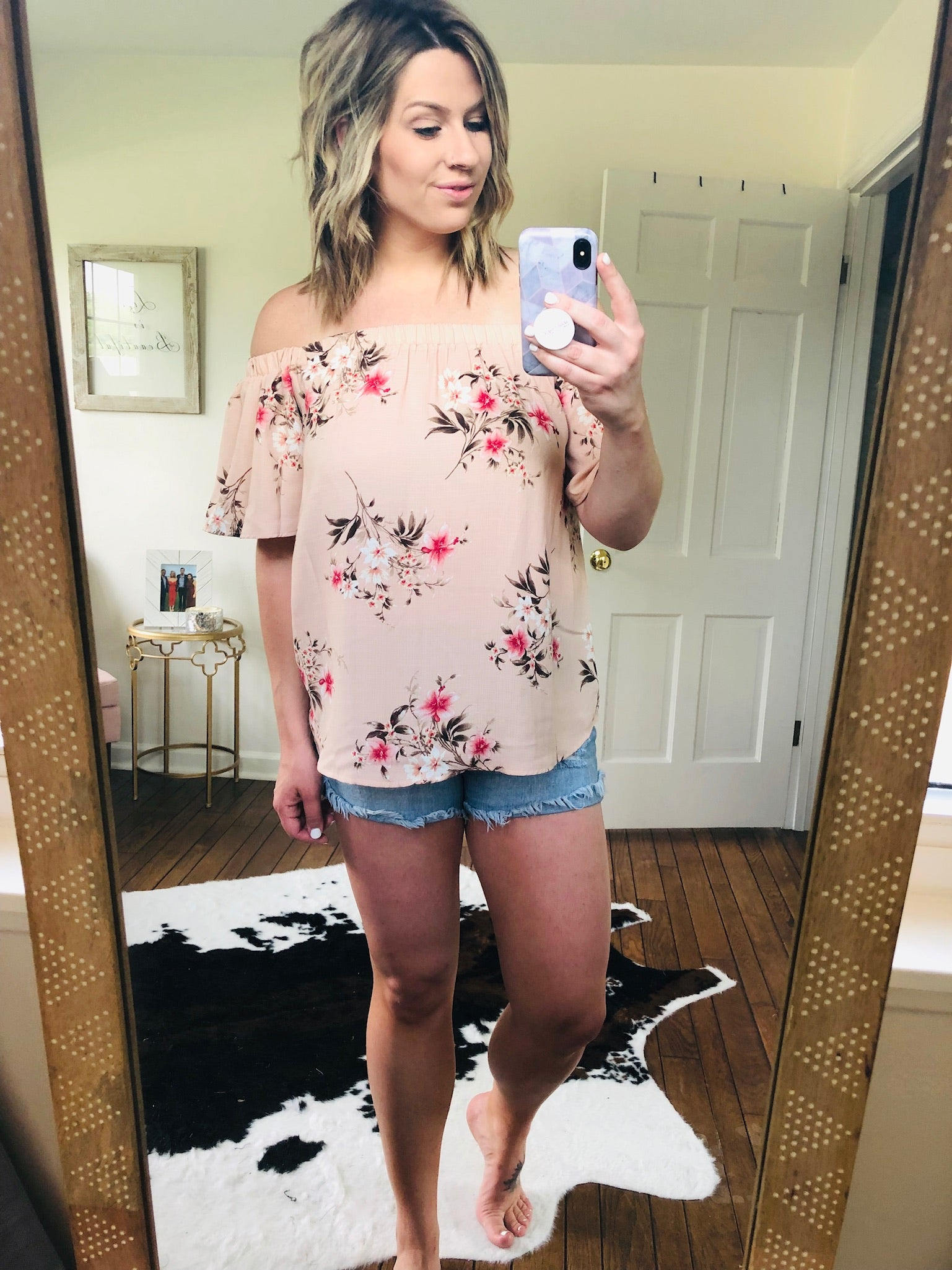 Off to the Gardens Off the Shoulder Blush Floral Tee