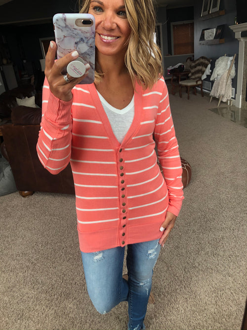 There In A Snap Striped Cardigan with Snap Closure- Coral & Ivory