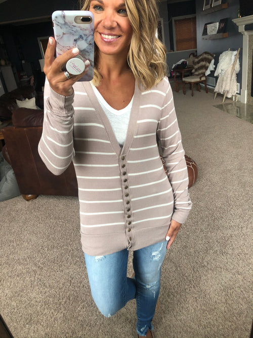 There In A Snap Striped Cardigan with Snap Closure- Mocha & Ivory