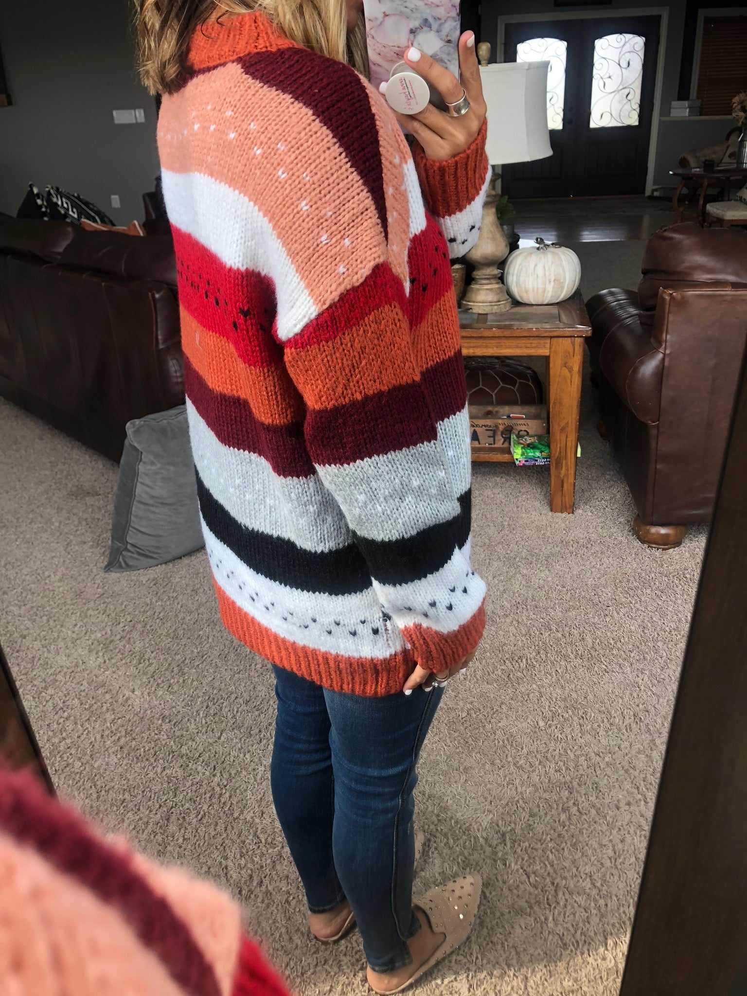 Need You Now Rust Mix Striped Sweater