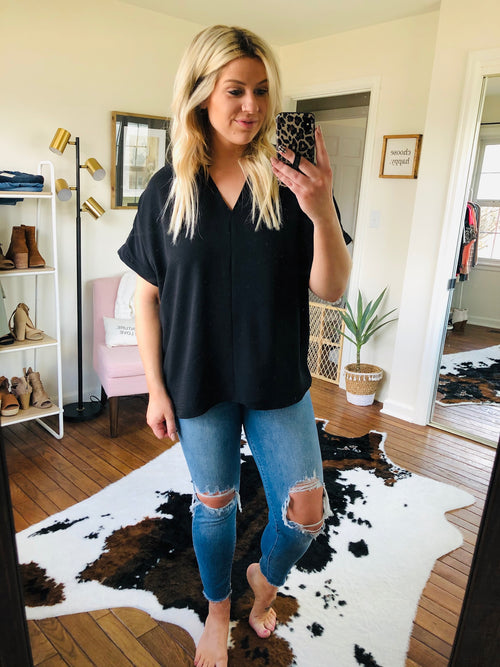 All Is Well Oversized V Neck Blouse- Black