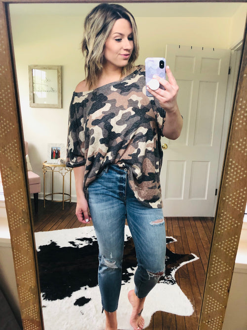 Thinking Out Loud Cream and Taupe Camo Oversized Tee