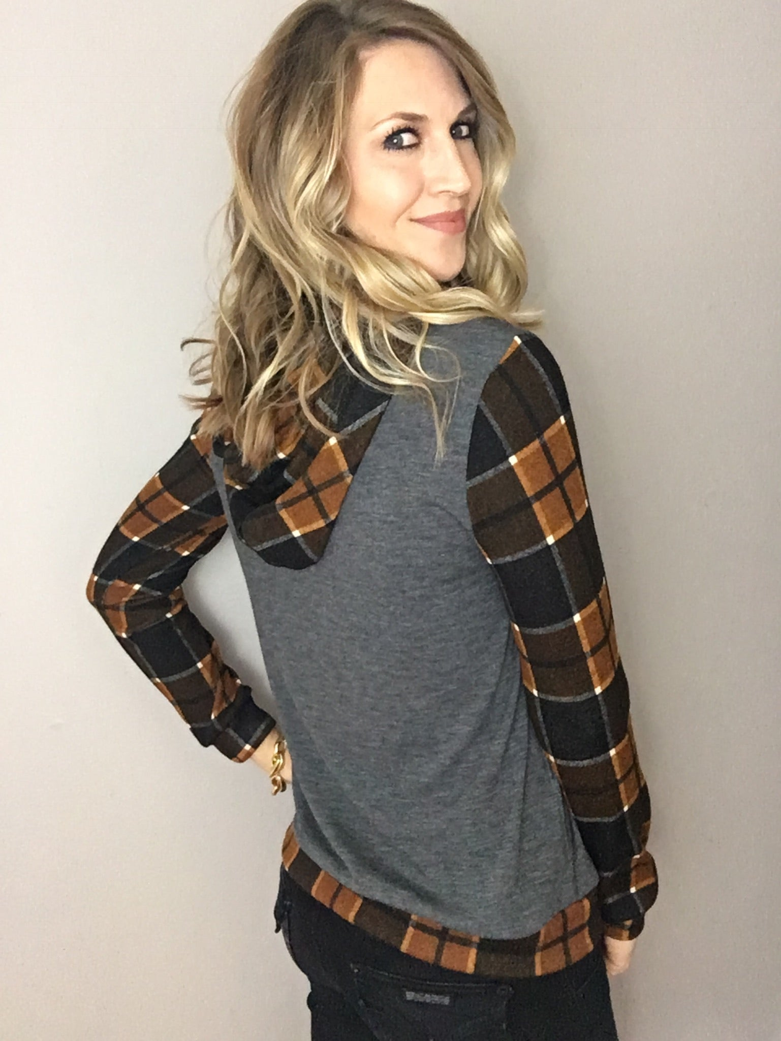 Holding On Plaid Hoodie
