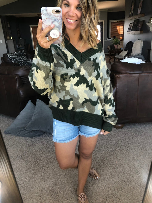 Real Big Plans Olive Camo V-Neck Sweater