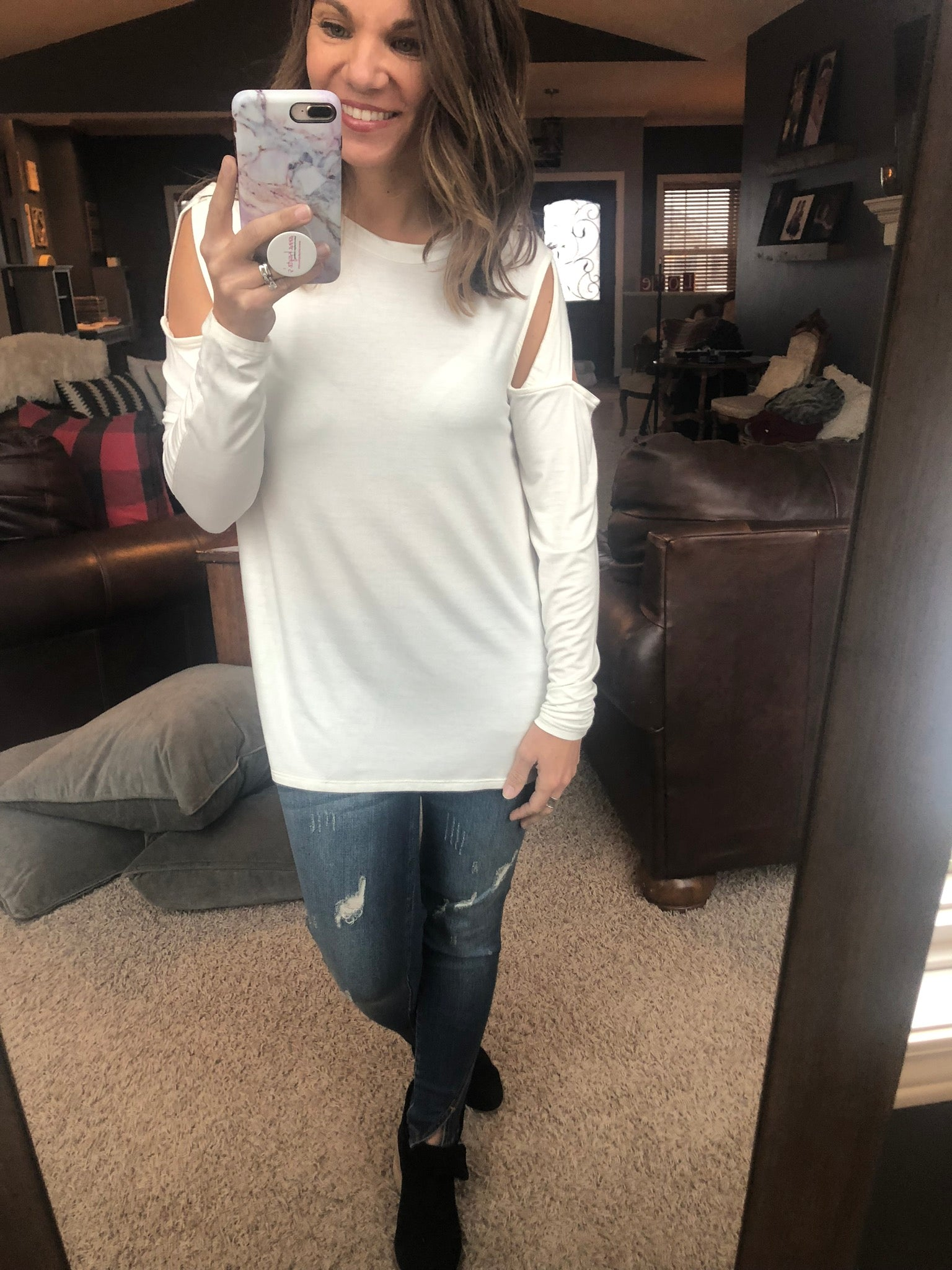 Need You On My Arm Cutout Shoulder Long Sleeve - Ivory