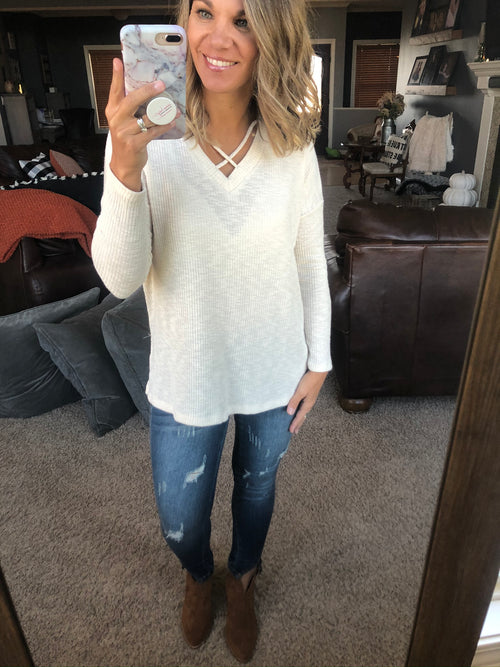 Need You More Cream Criss Cross Long Sleeve