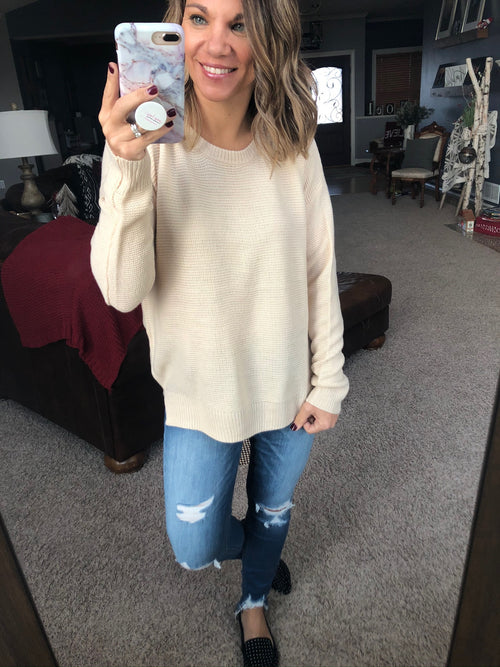 In a Hurry Lightweight Knit Sweater - Cream