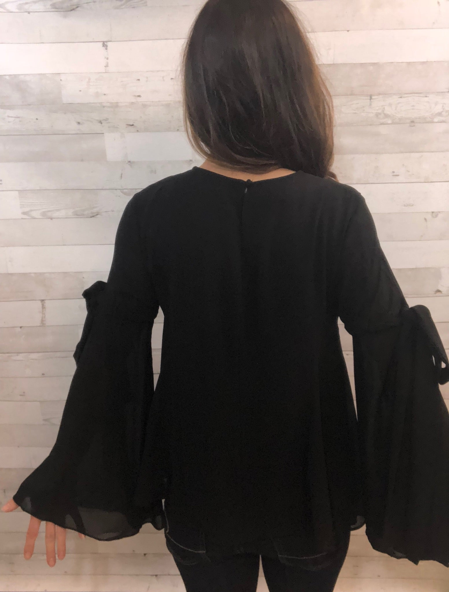 Moving Along Black Blouse Top