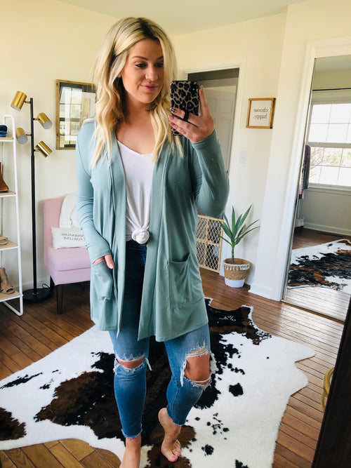 Floating On A Cloud Midi Cardigan with Pockets- Dusty Sage