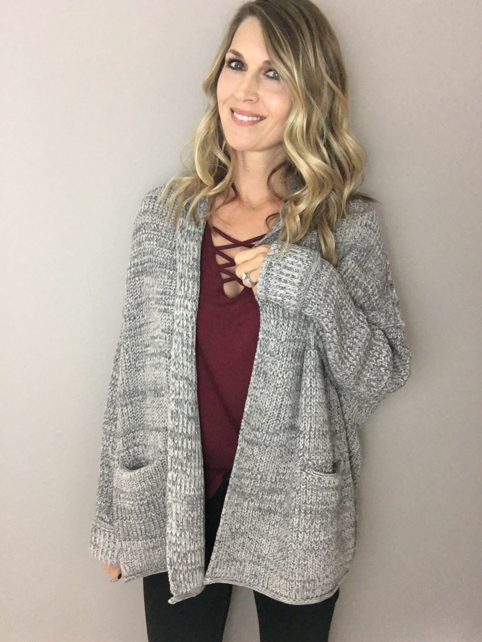 New Discoveries Cuffed Cardigan- Heather Grey