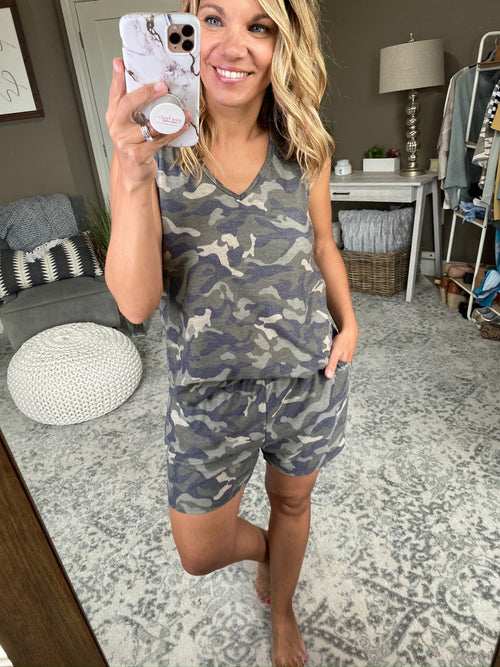 Almost Maybe Camo Tank and Shorts Set