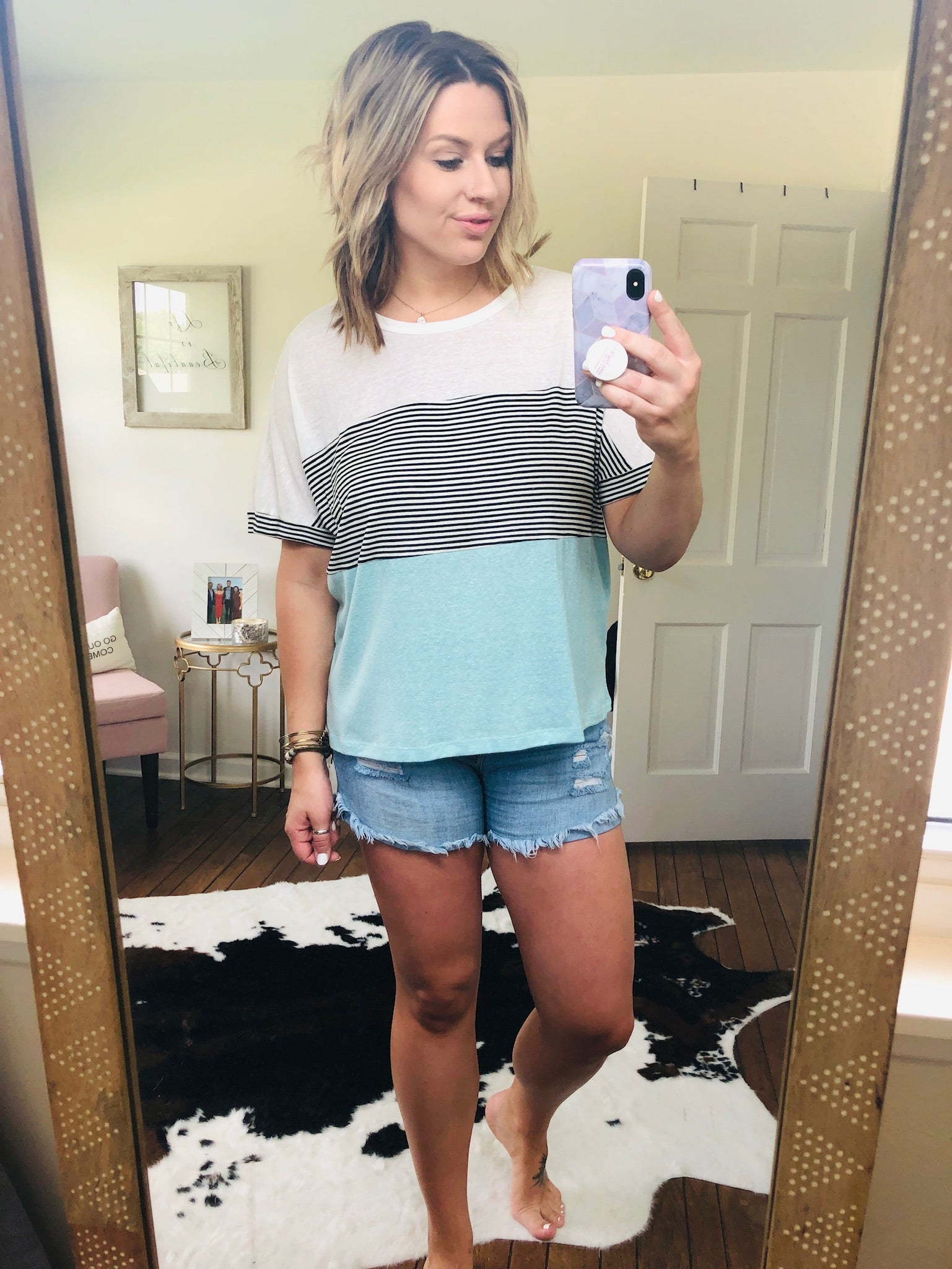 Friday Fun Mint and Stripe Colorblock Tee
