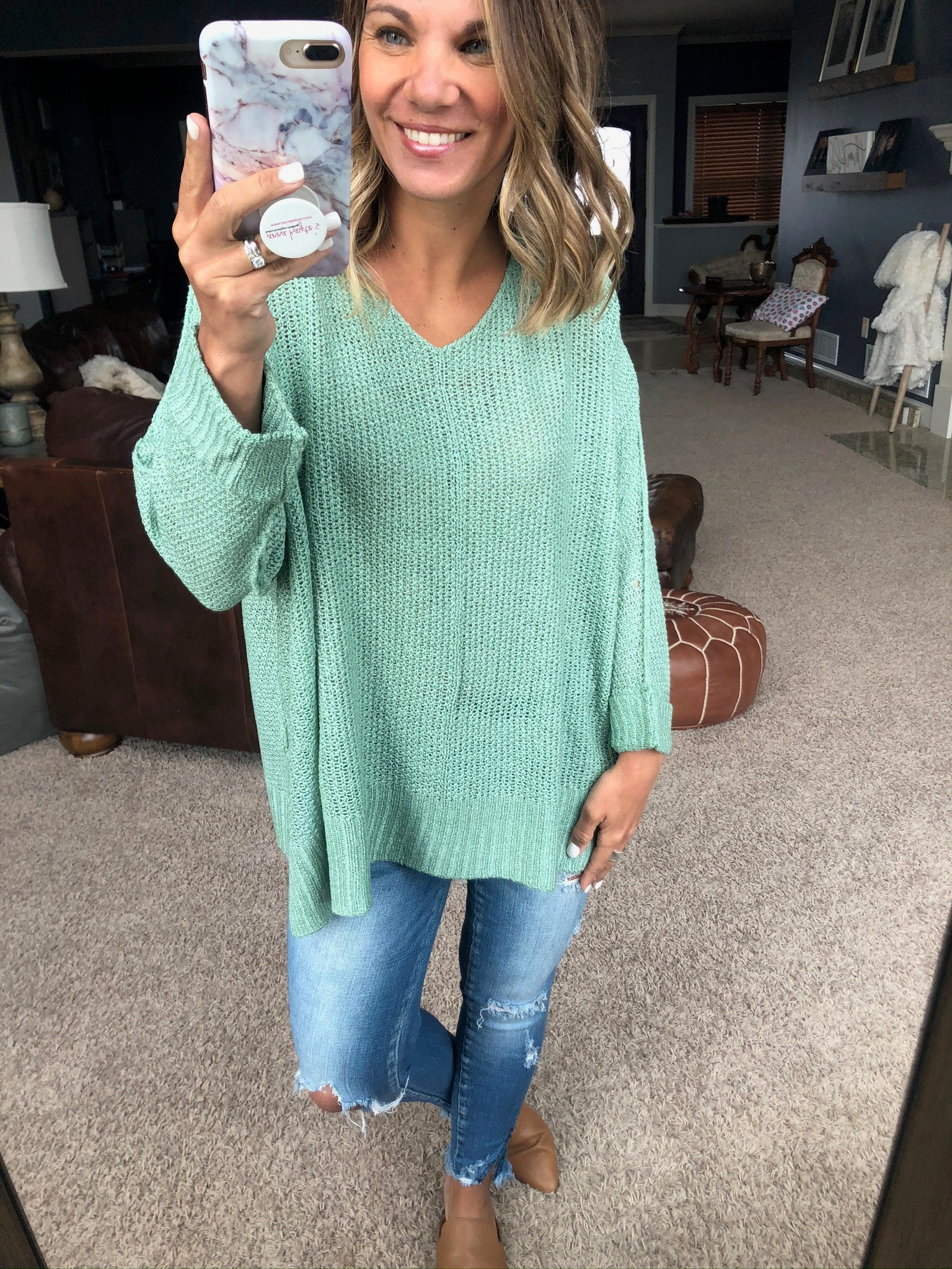 Of This I'm Sure Sage Knit Dolman Sweater with Folded Cuffs