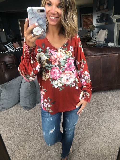 Everything You Need Rust Floral V-Neck Long Sleeve with Cinched Cuffs