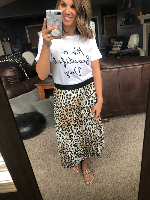 Happy to Be Animal Print Pleated Skirt