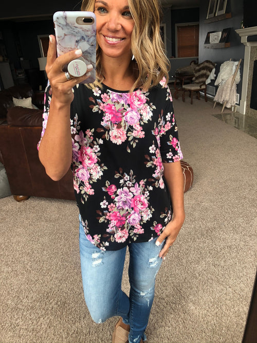Ticket To Anywhere Black with Pink Floral Mix Tee