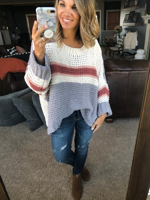 Until I Met You Oversized Knit Chenille Sweater