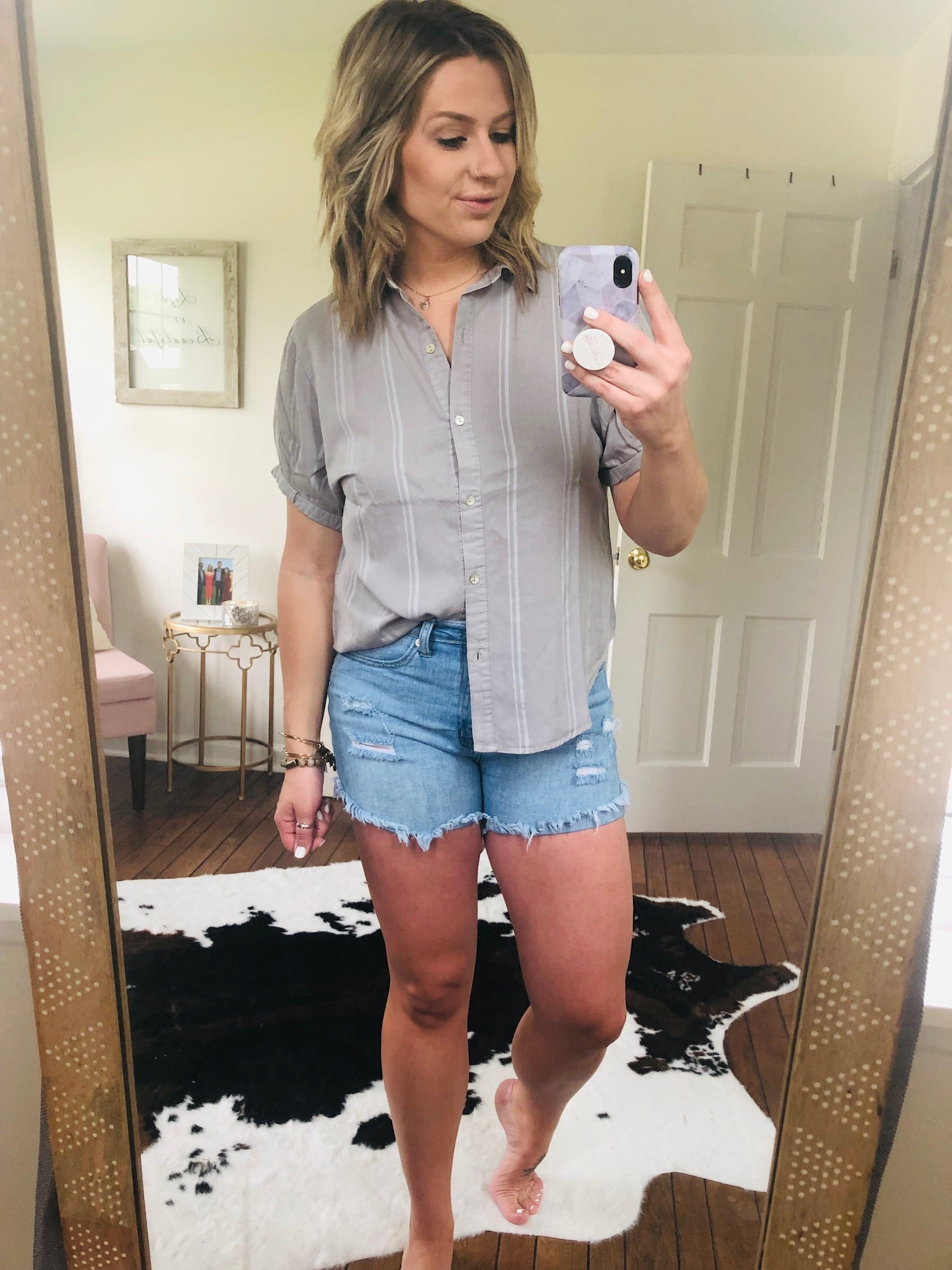 It Was Always You Grey Pinstripe Button Down Tee
