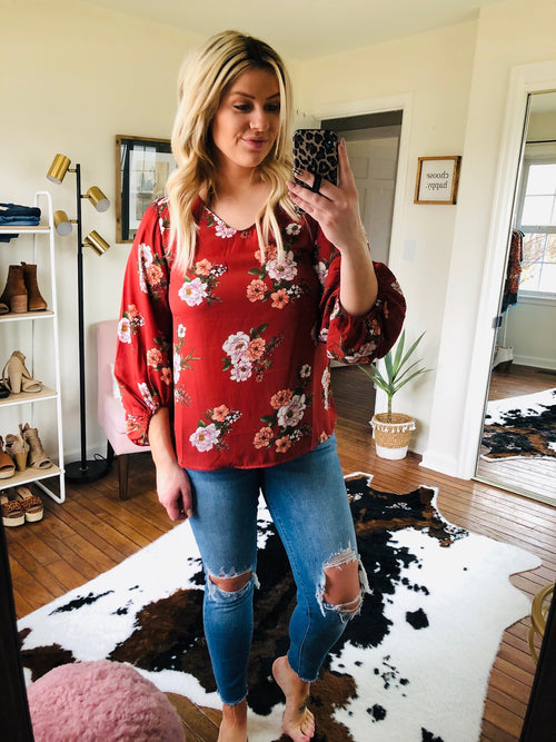 Somebody Like You Sienna Floral 3/4 Sleeve Blouse