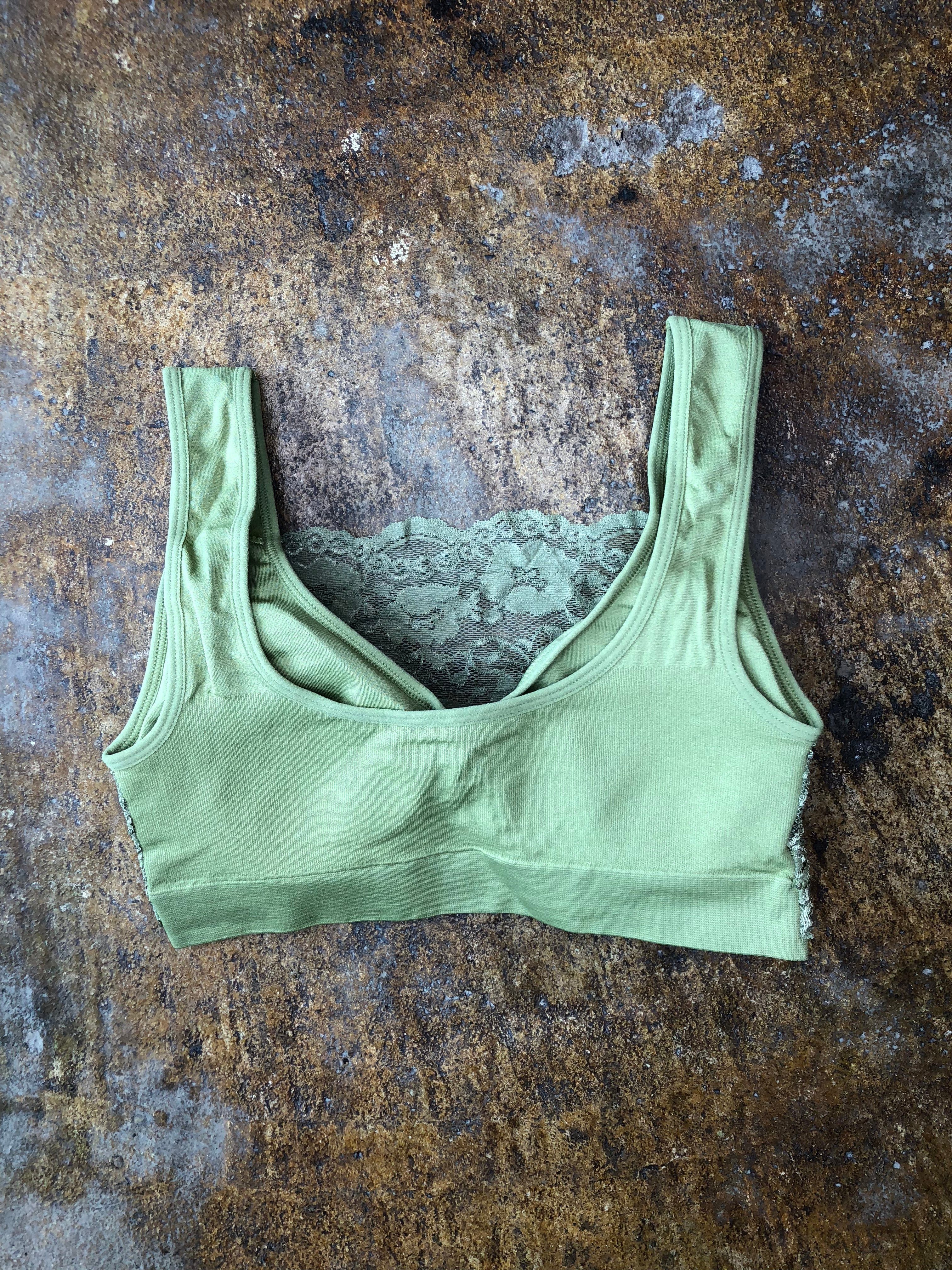 No Compare Lace Seamless Bralette - Green