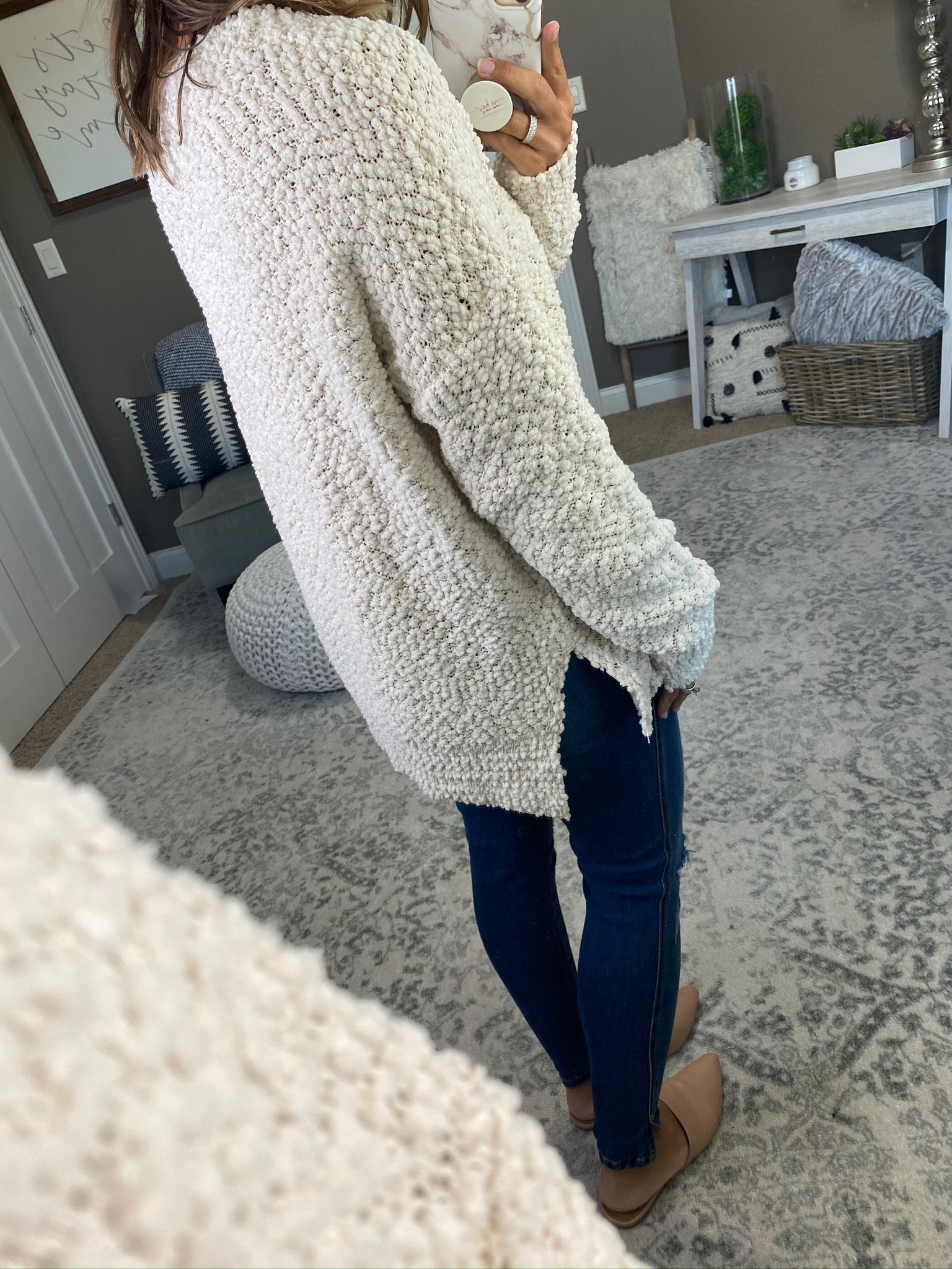 One Of Them Girls Popcorn Sweater with Split Hem- Multiple Options
