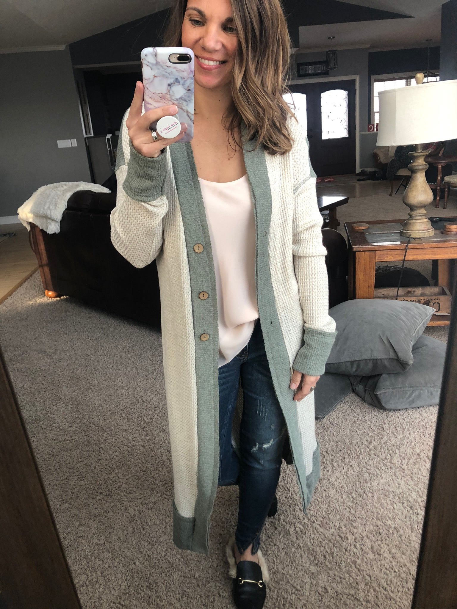 Drops of Jupiter Cream and Jade Midi Cardigan