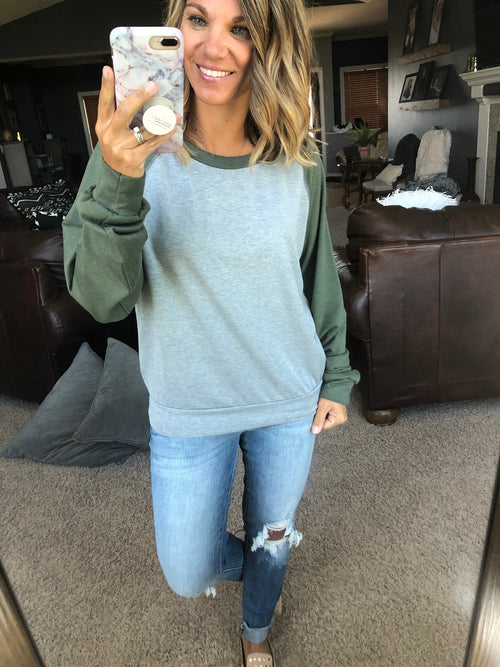 Confidence In You Vintage Wash Heather Grey with Olive Green Long Sleeve