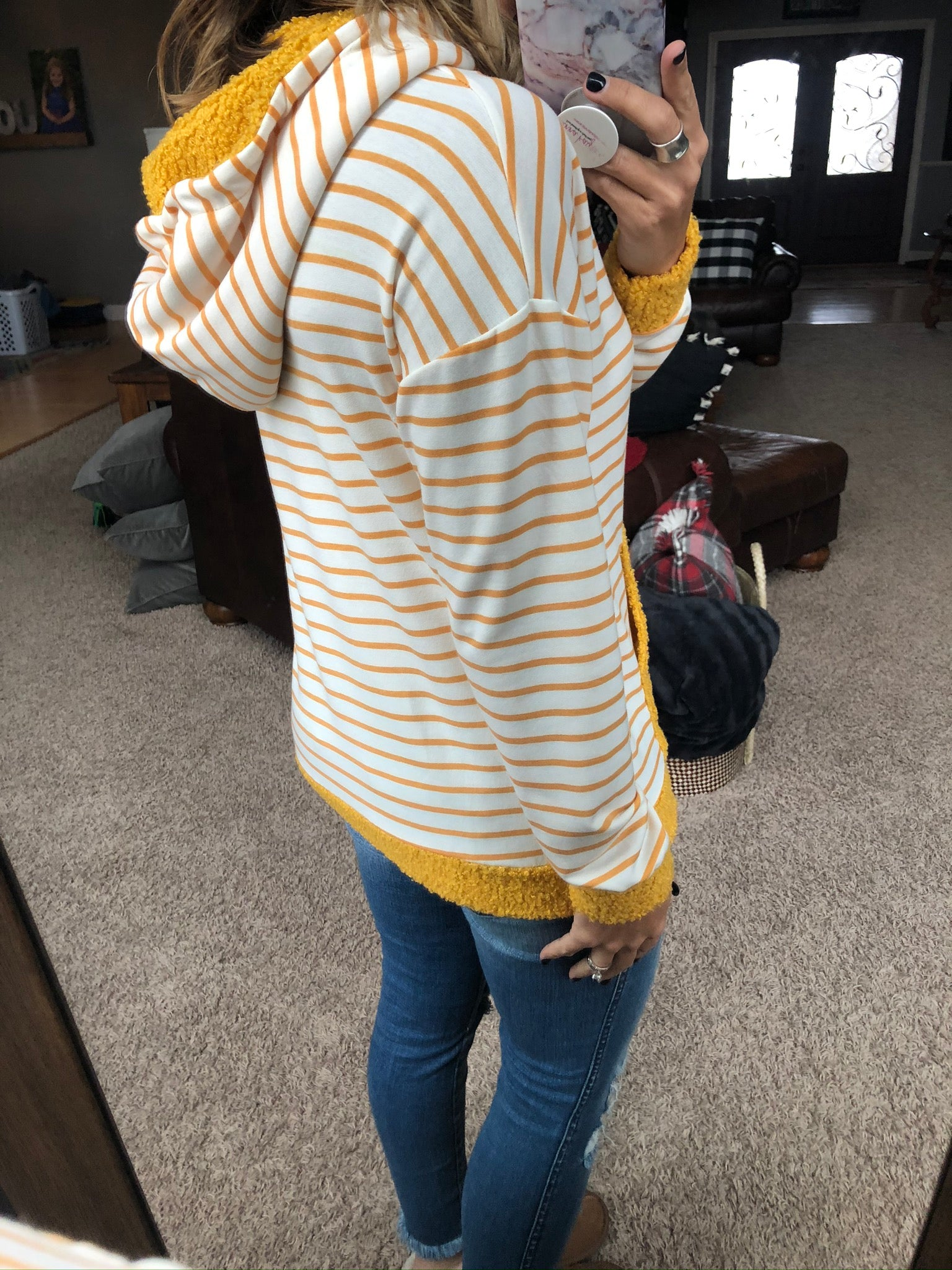 Good Intentions Mustard Stripe and Ivory Hoodie