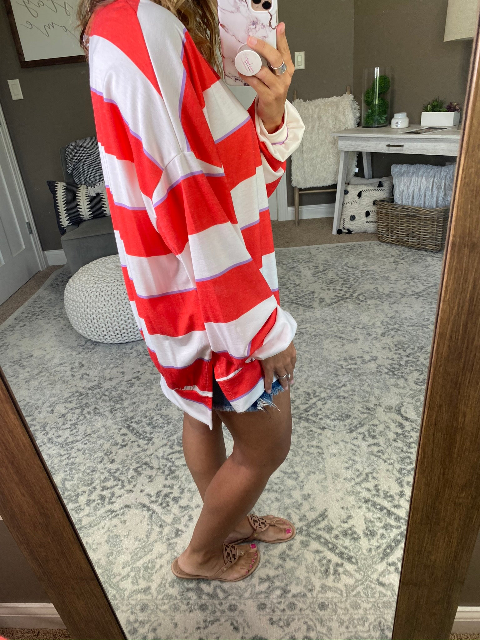 Better Off As Friends Striped Oversized Long Sleeve- Red, Ivory, Lavender