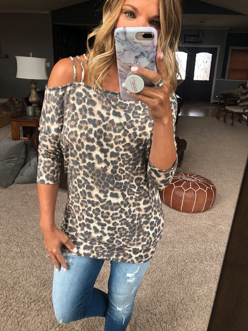 Can't Be Tamed Cheetah Strappy 3/4 Sleeve