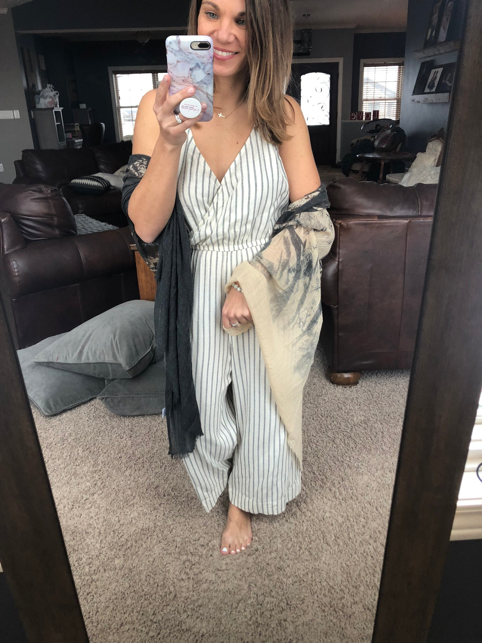 Across Town Cream/Black Striped Jumpsuit w/ Belt