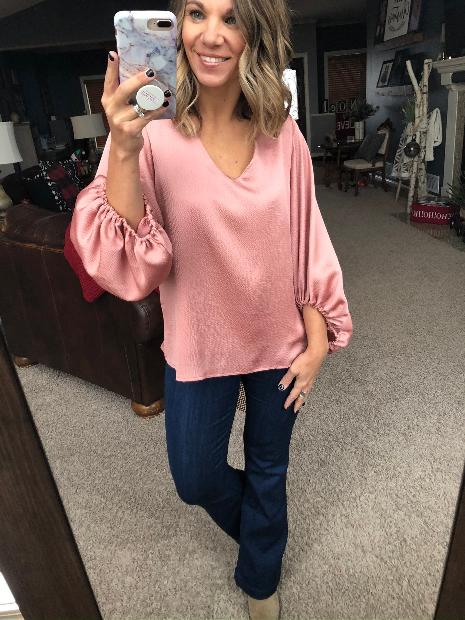Make Your Move Dusty Peach V Neck Blouse