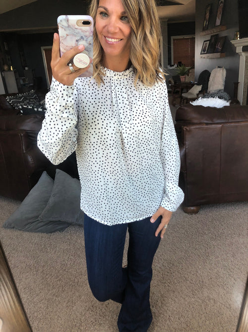 Connect the Dots White Polka Dot Long Sleeve with Pleated Ruffle Neckline
