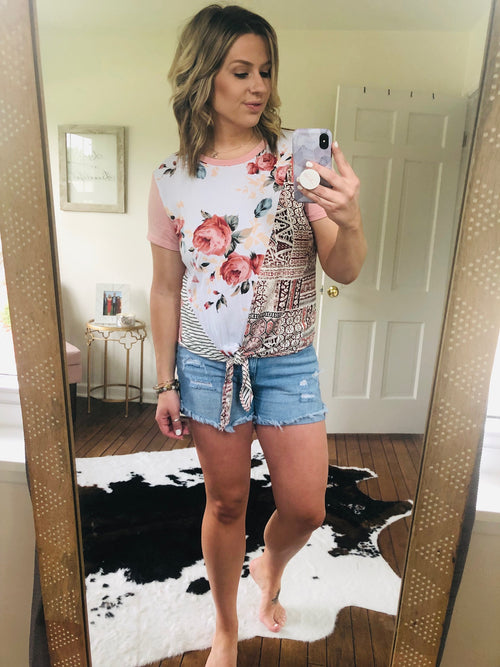 Mixed Emotions Blush Floral Colorblock Tee with Front Tie