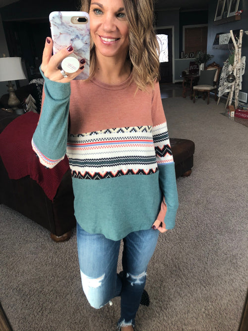 Pleasant Surprise Orange and Teal Long Sleeve with Aztec Detail