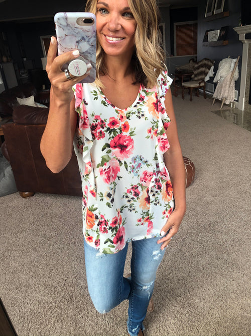 Full Of Blooms Ivory Floral V Neck Tank with Ruffles