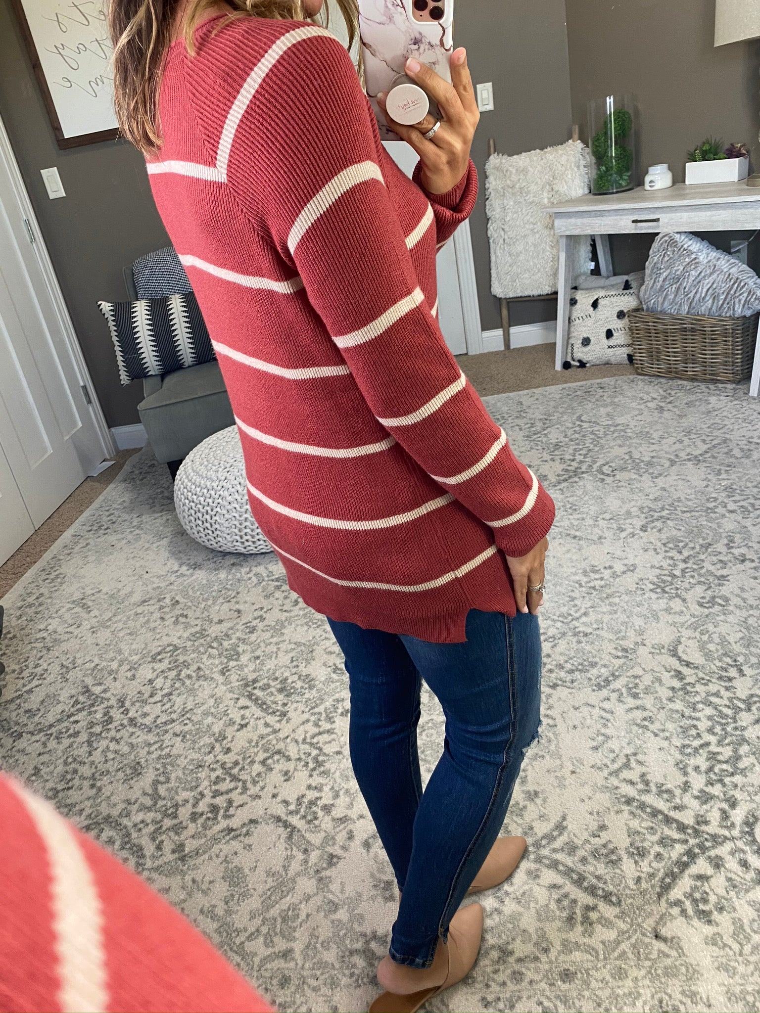 Stories To Tell Rust Crew Sweater with Cream Stripes