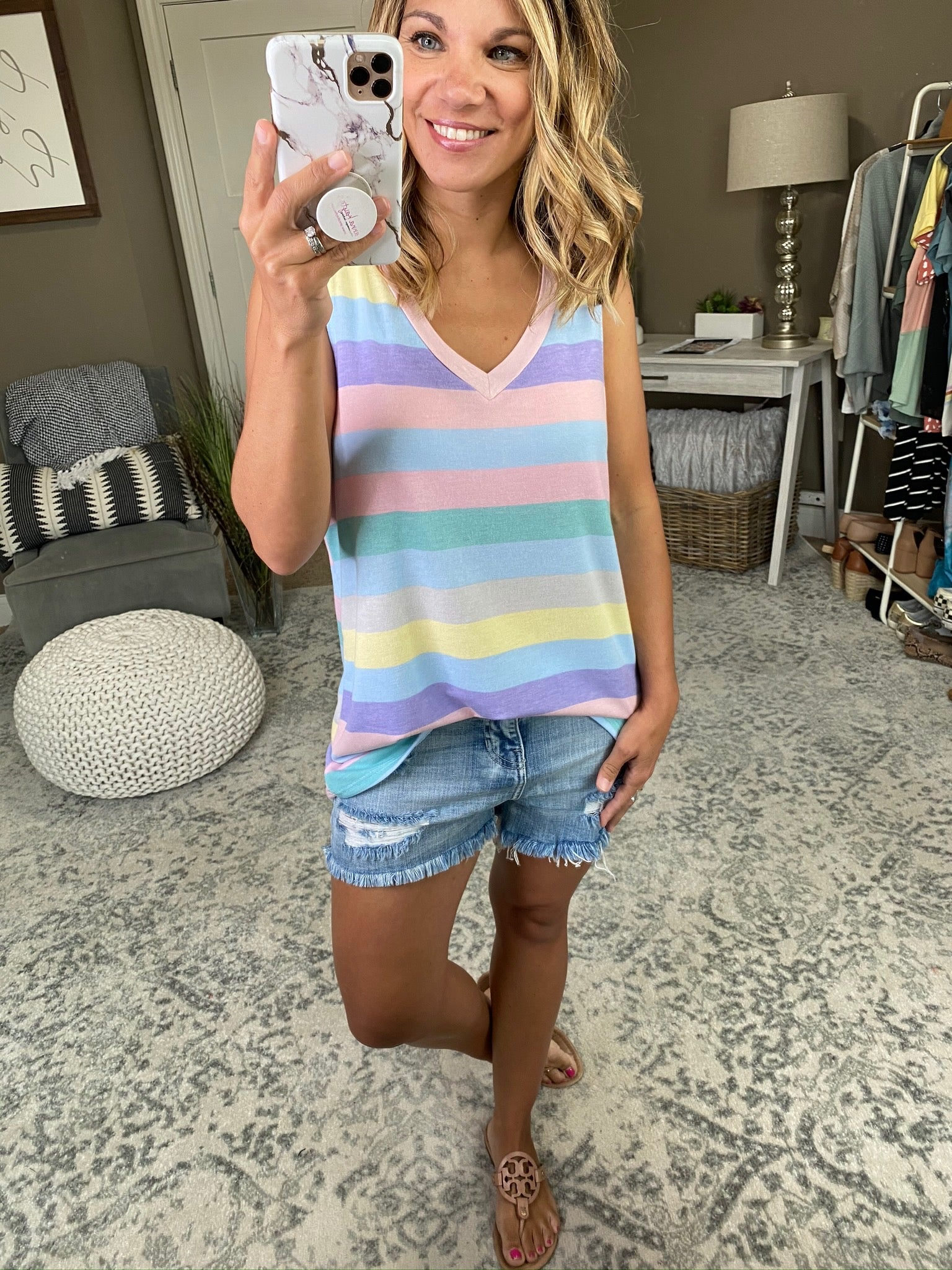 One Chance Pastel Mix Stripe V-Neck Tank