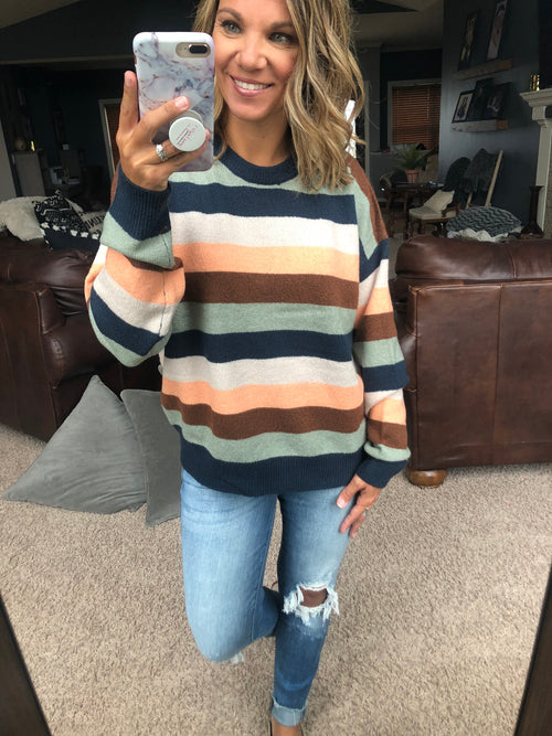 Autumn Looks Navy Combo Stripe Sweater