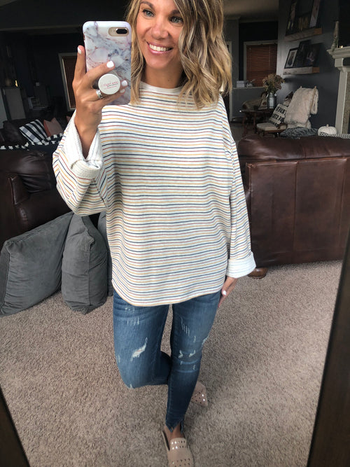 Thankful for Fall Cream Multi Stripe Long Sleeve Top