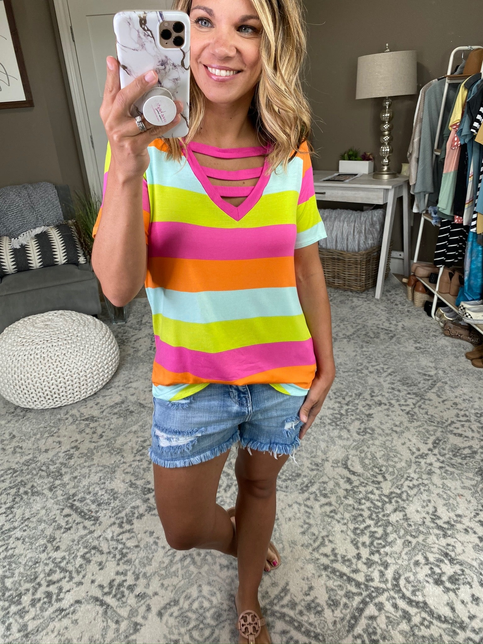 All Up To You Multi Neon Stripe Triple Strap V-Neck Tee