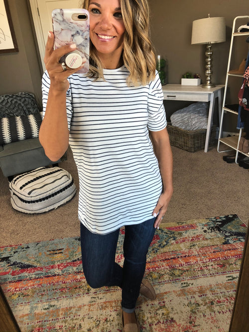 Live Free Ivory Tee with Blue Stripes and Ruched Sleeves