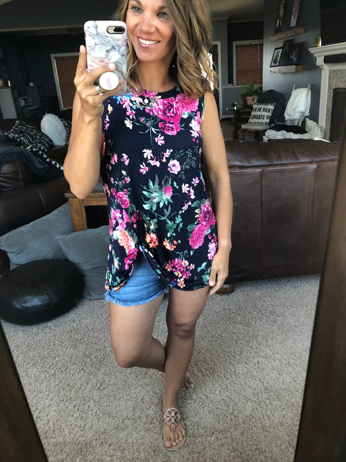 See You Soon Navy Floral Tank with Front Twist Hem, regular and curvy