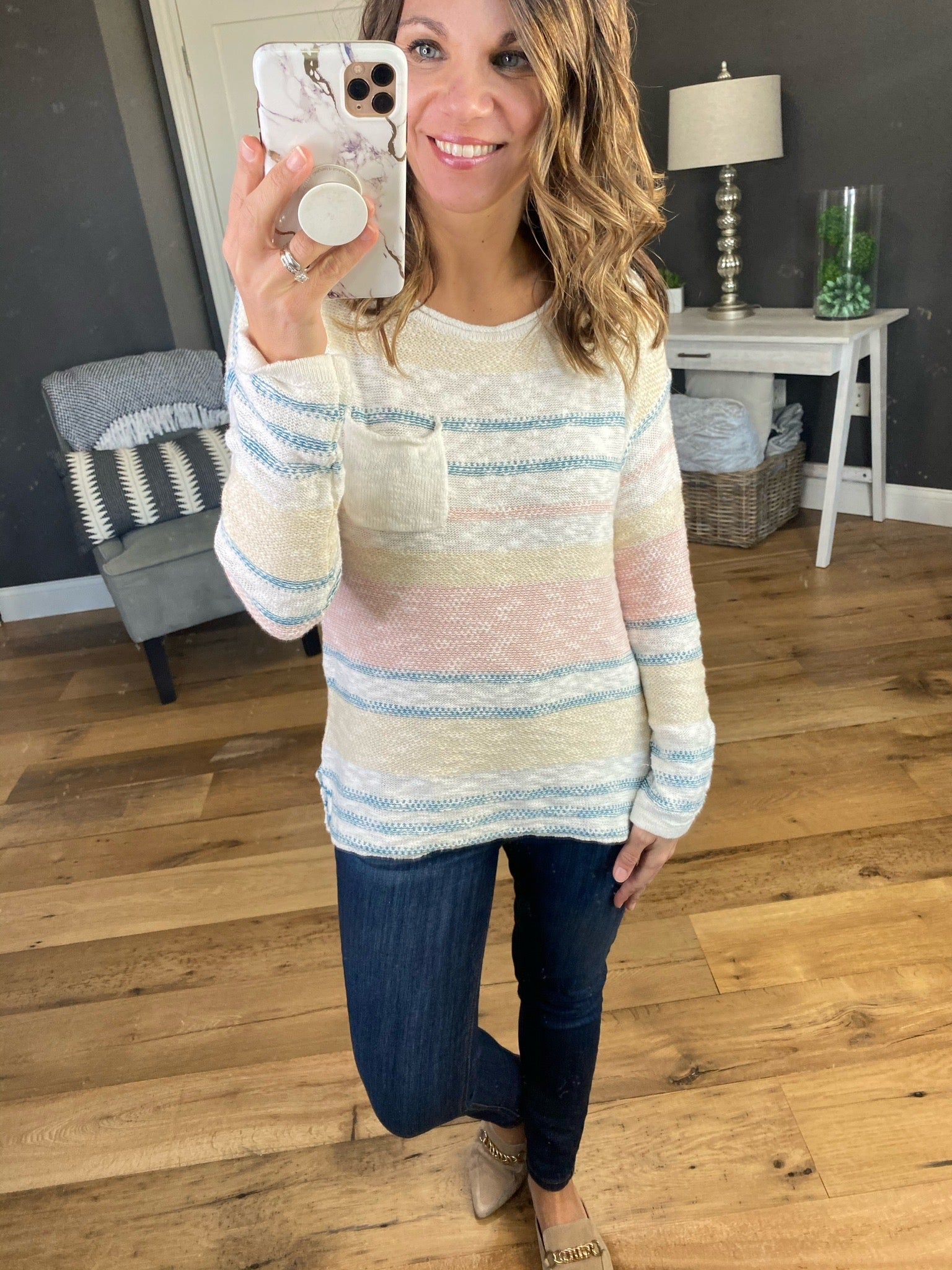 Won't You Stay Blush and Blue Striped Hacci Knit Lightweight Sweater