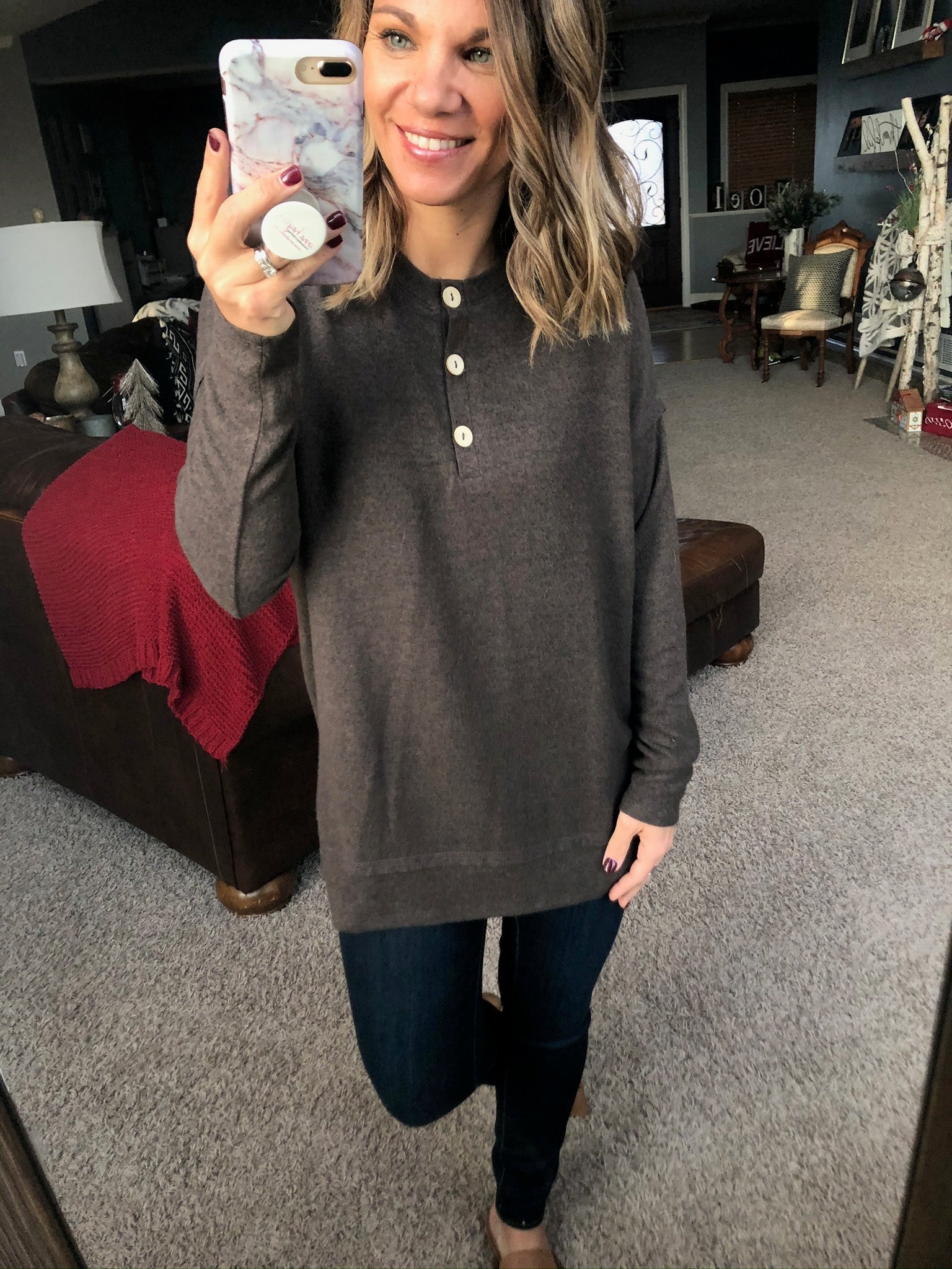 Cherish It Cocoa Brushed Fleece Henley Long Sleeve