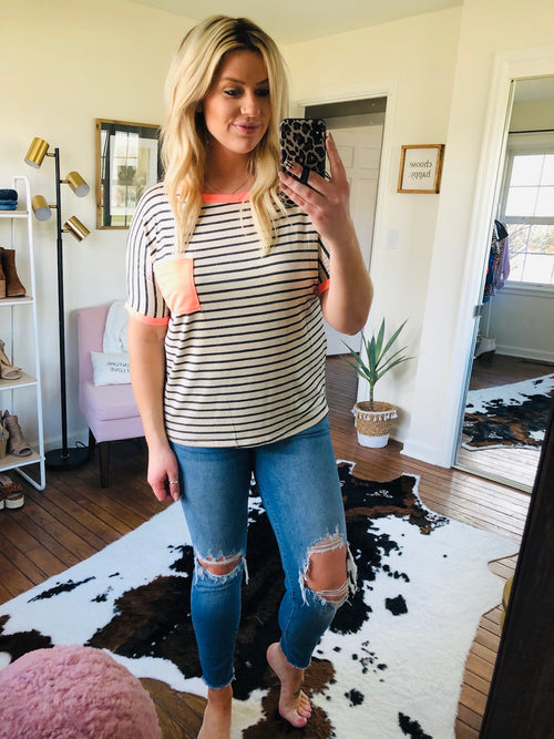 Before You Go Oatmeal with Charcoal Stripe Tee with Coral Details