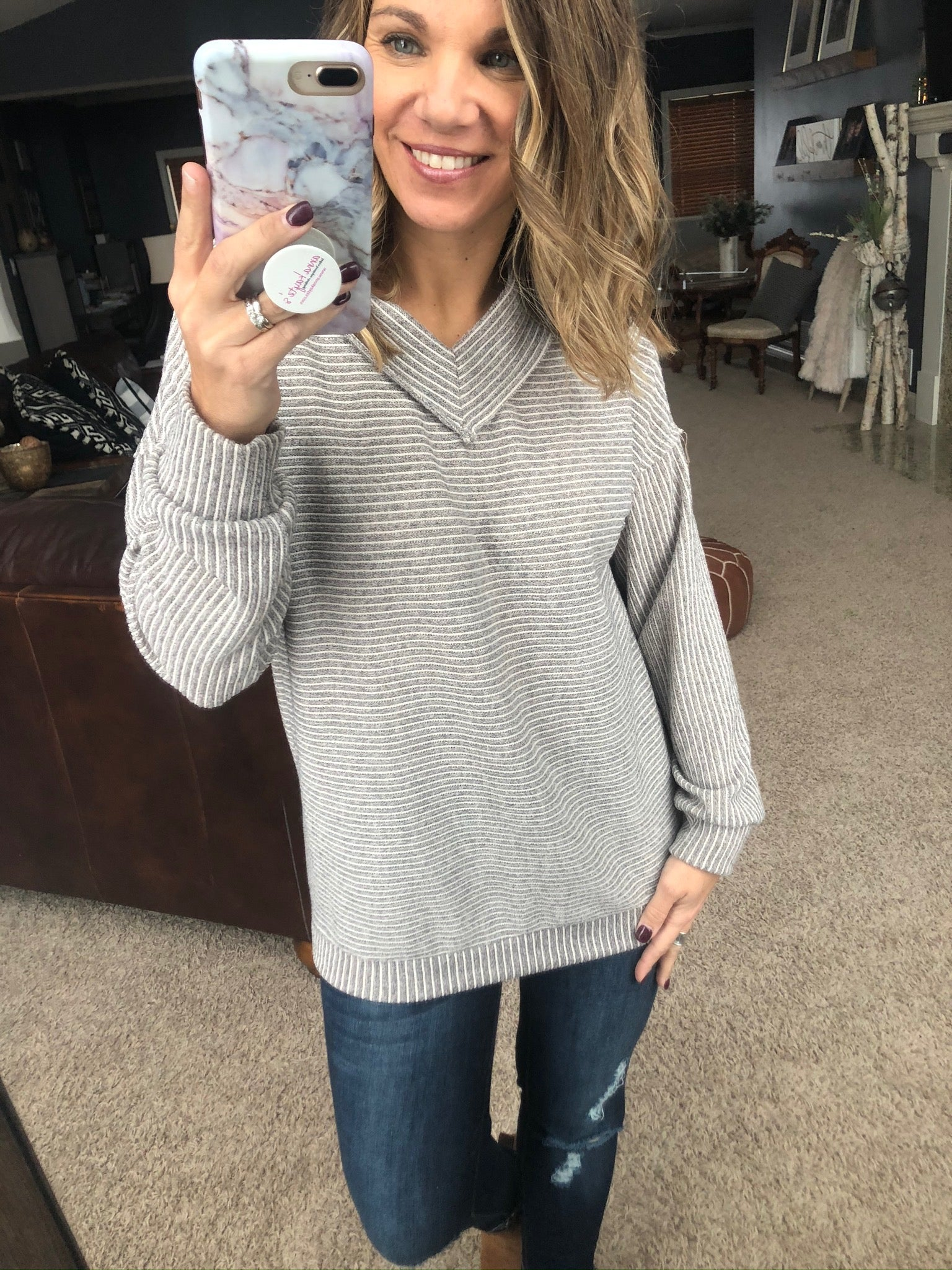 Thinking 'Bout You Heather Grey and Ivory Striped Double V-Neck Sweater