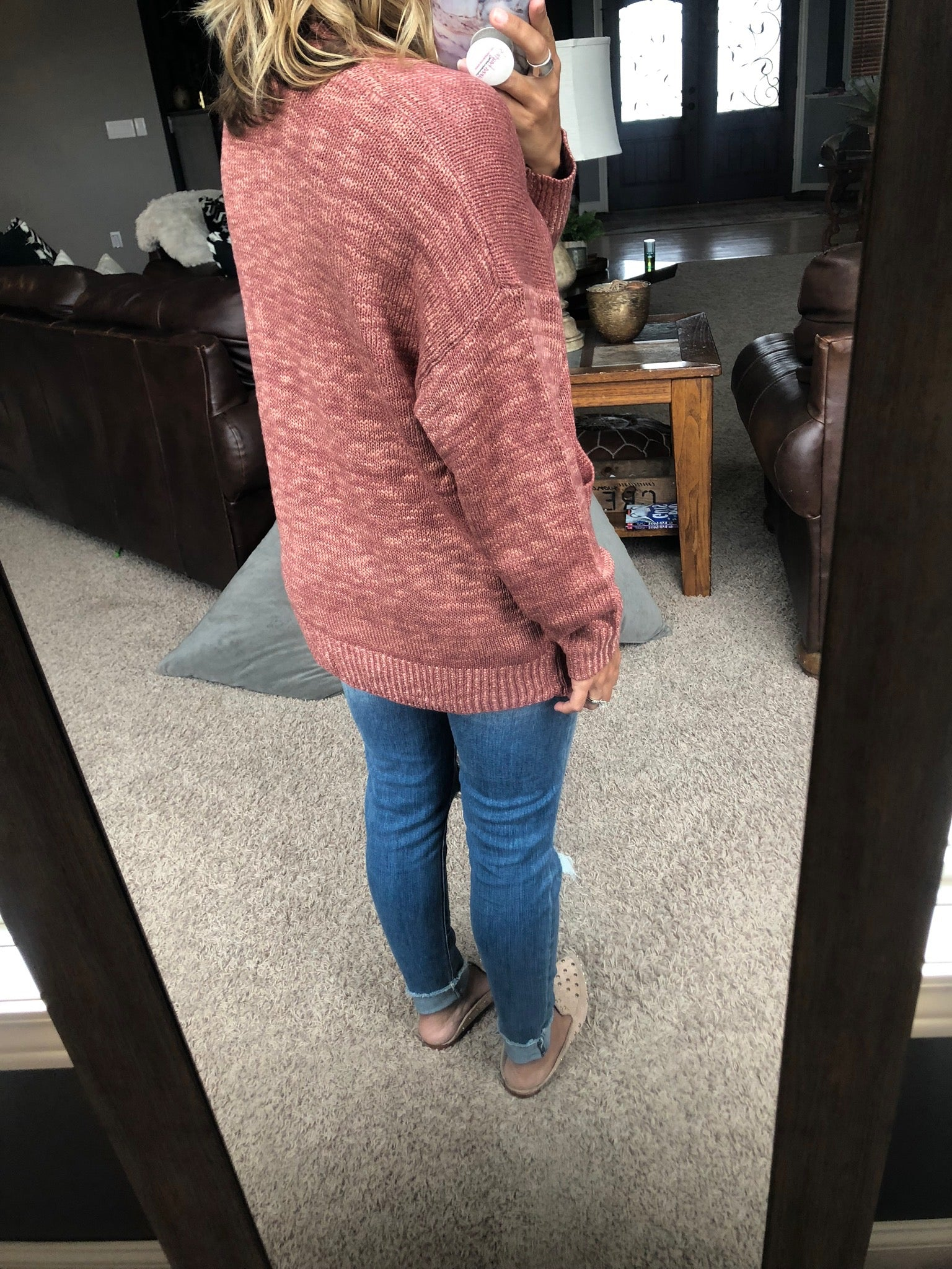 La Di Da Mauve Open Front Cardigan with Pockets